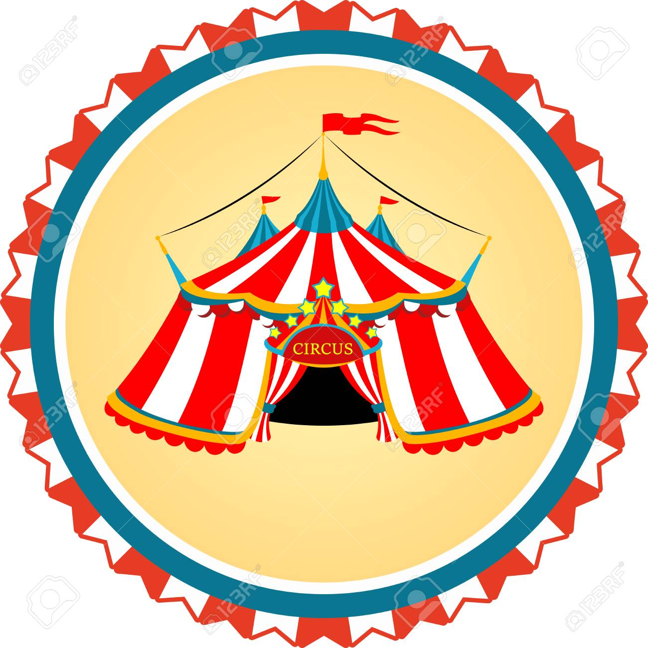 vector colored clip art with striped circus tent royalty free rh 123rf com circus tent clip art free circus tent clip art free