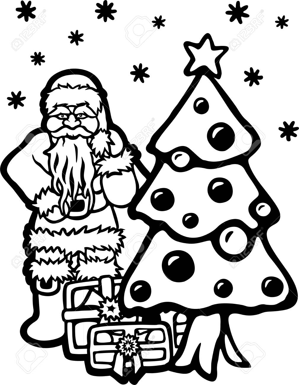 Coloring Book Page With Cartoon Santa Christmas Tree And Gifts