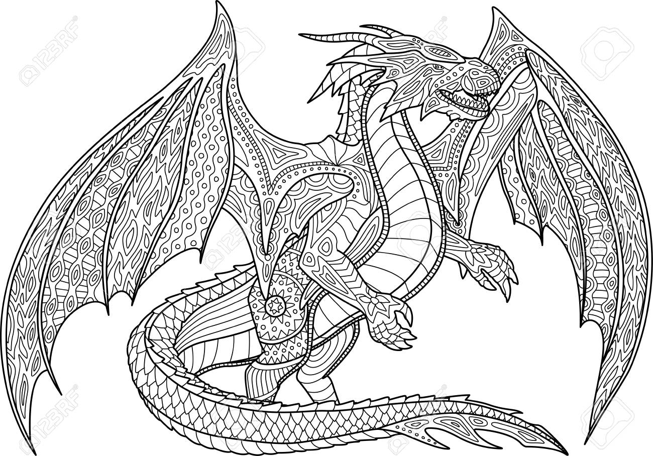 Adult Coloring Book Page With Beautiful Dragon On White Background Stock Photo Picture And Royalty Free Image Image 109806005