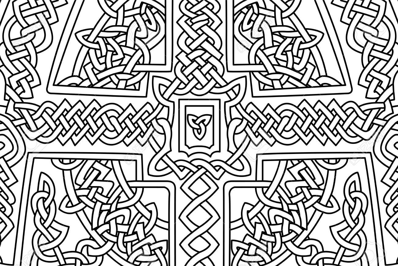 Coloring Book Page With Abstract Celtic Art Stock Photo, Picture And ...