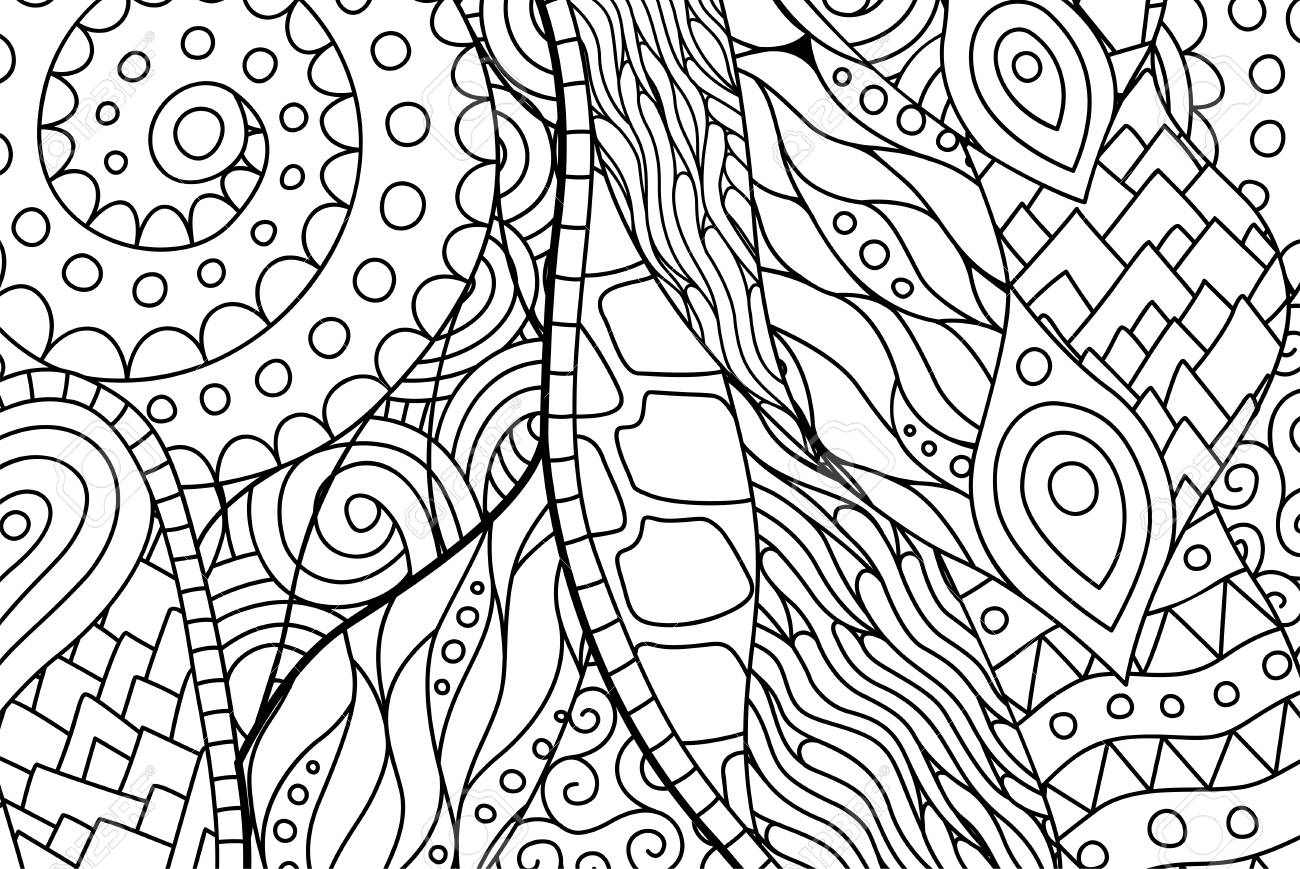 Beautiful Black And White Rectangle Abstract Coloring Book Page