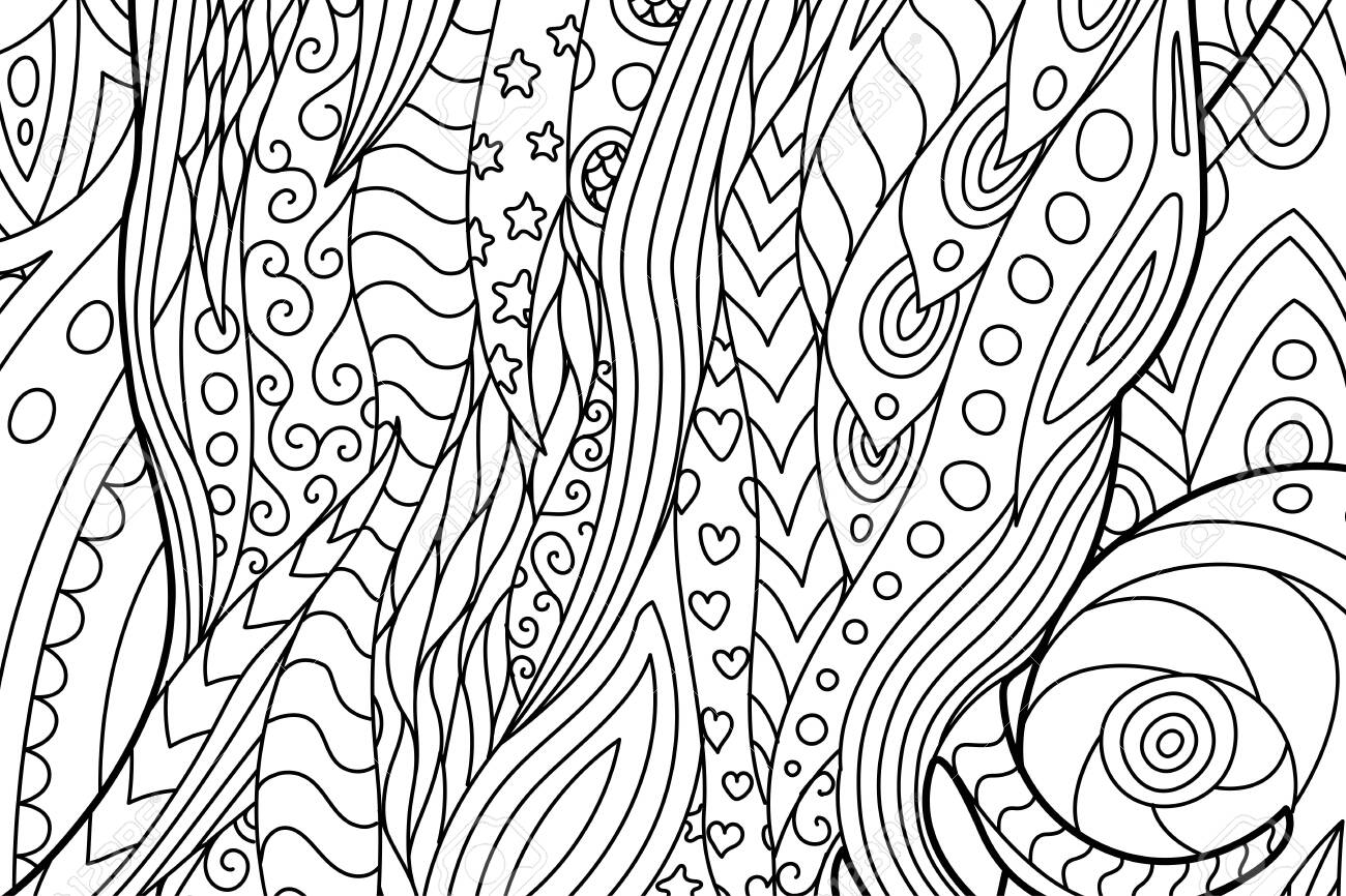 Beautiful Waving Abstract Coloring Book Page With Hearts And
