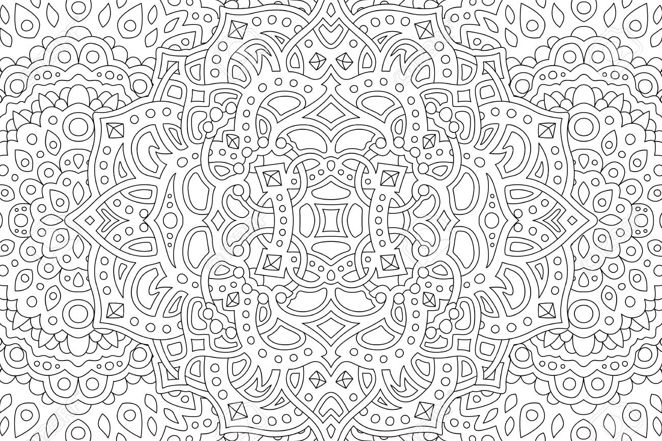 Coloring book page with beautiful abstract monochrome pattern - 122628688