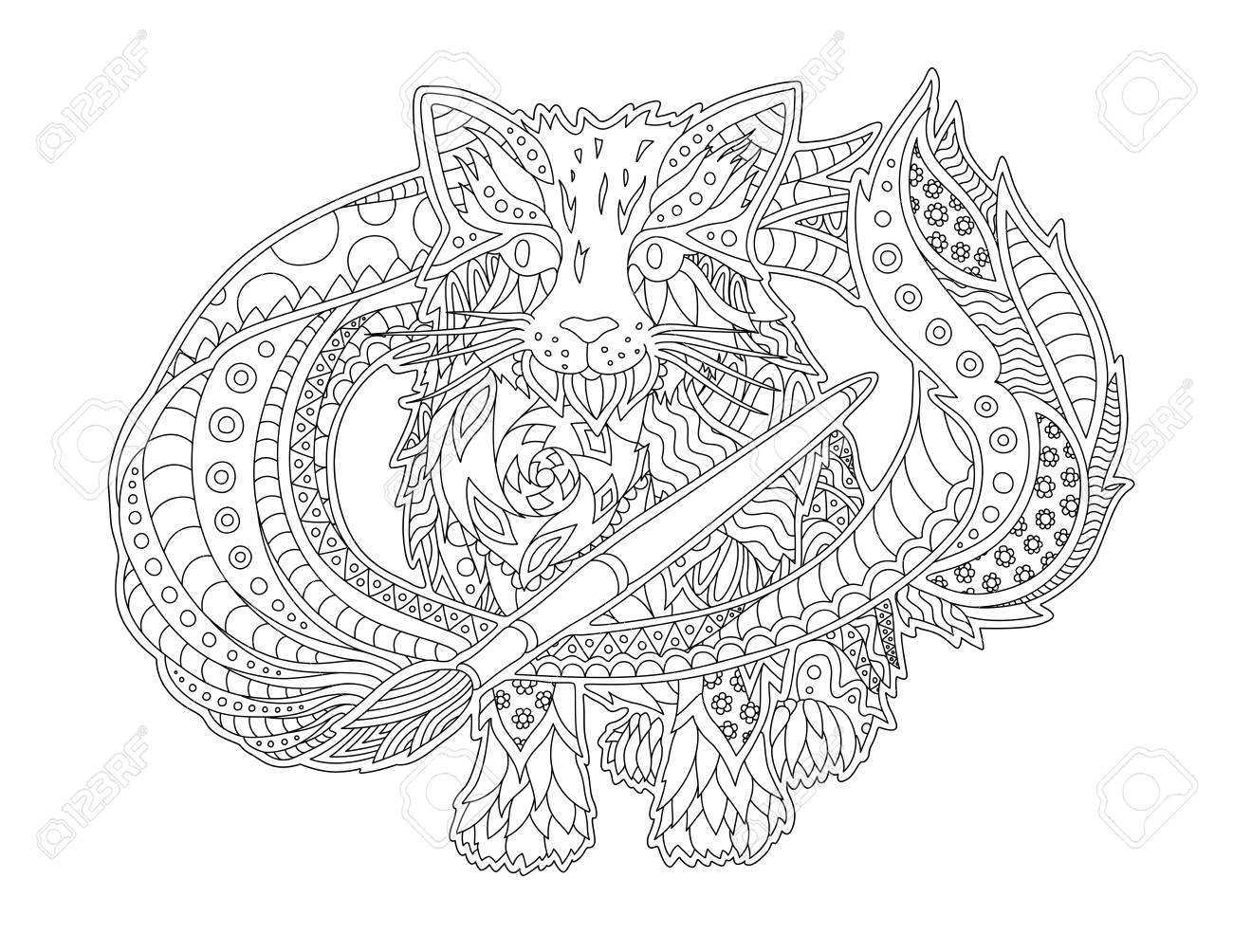 Beautiful illustration for coloring book with cartoon cat artist..