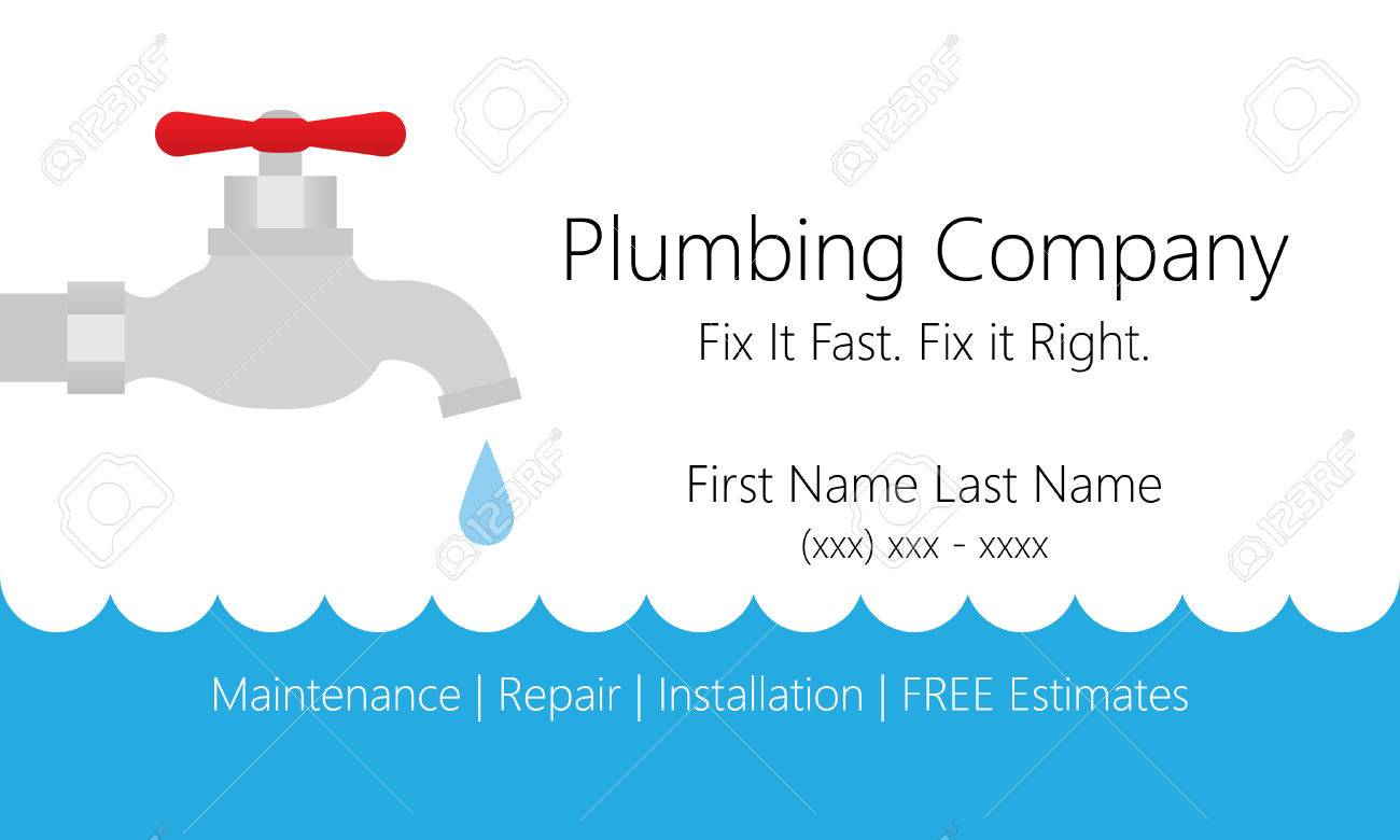 Plumbing Business Card Template Royalty Free Cliparts Vectors And