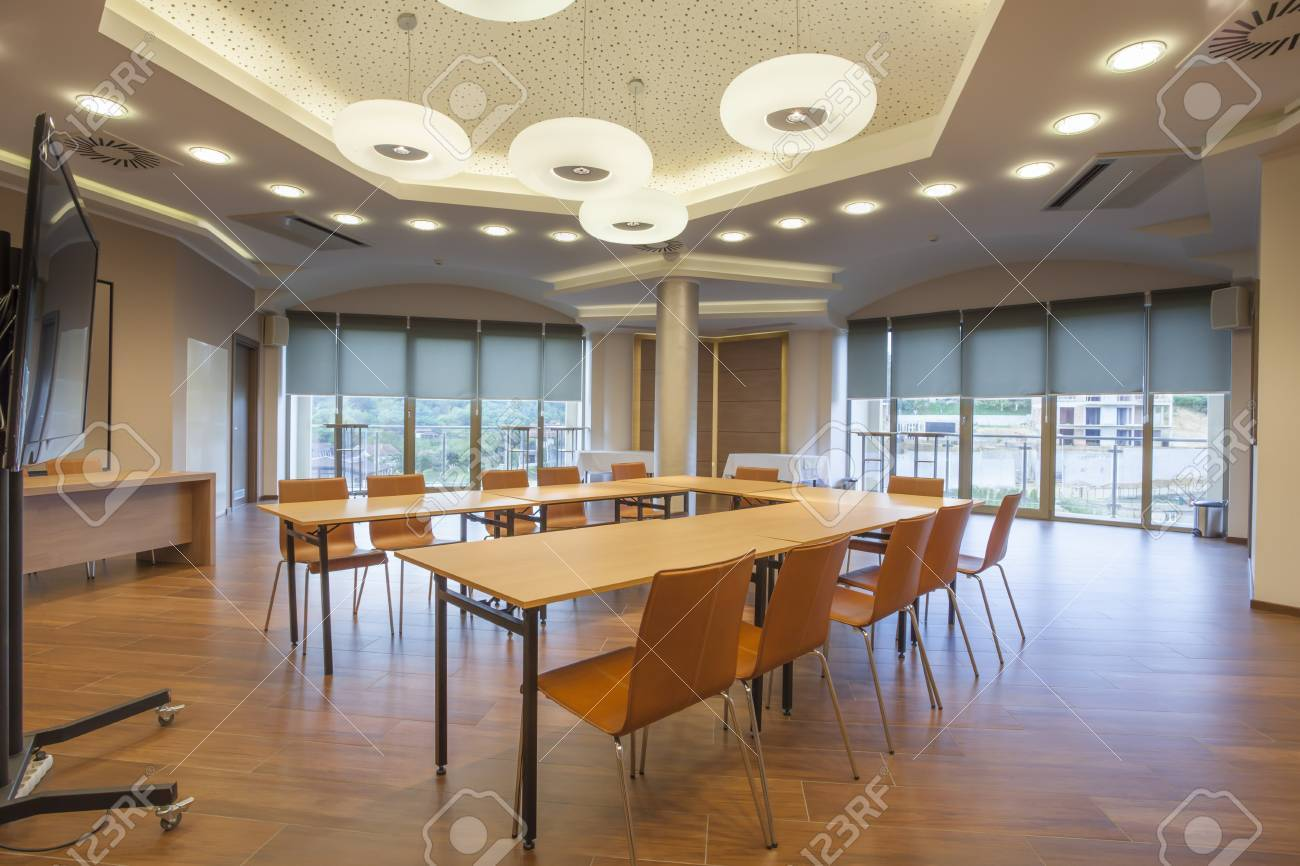 Conference Room Interior With Big LCD Screen Stock Photo Picture - Big conference table