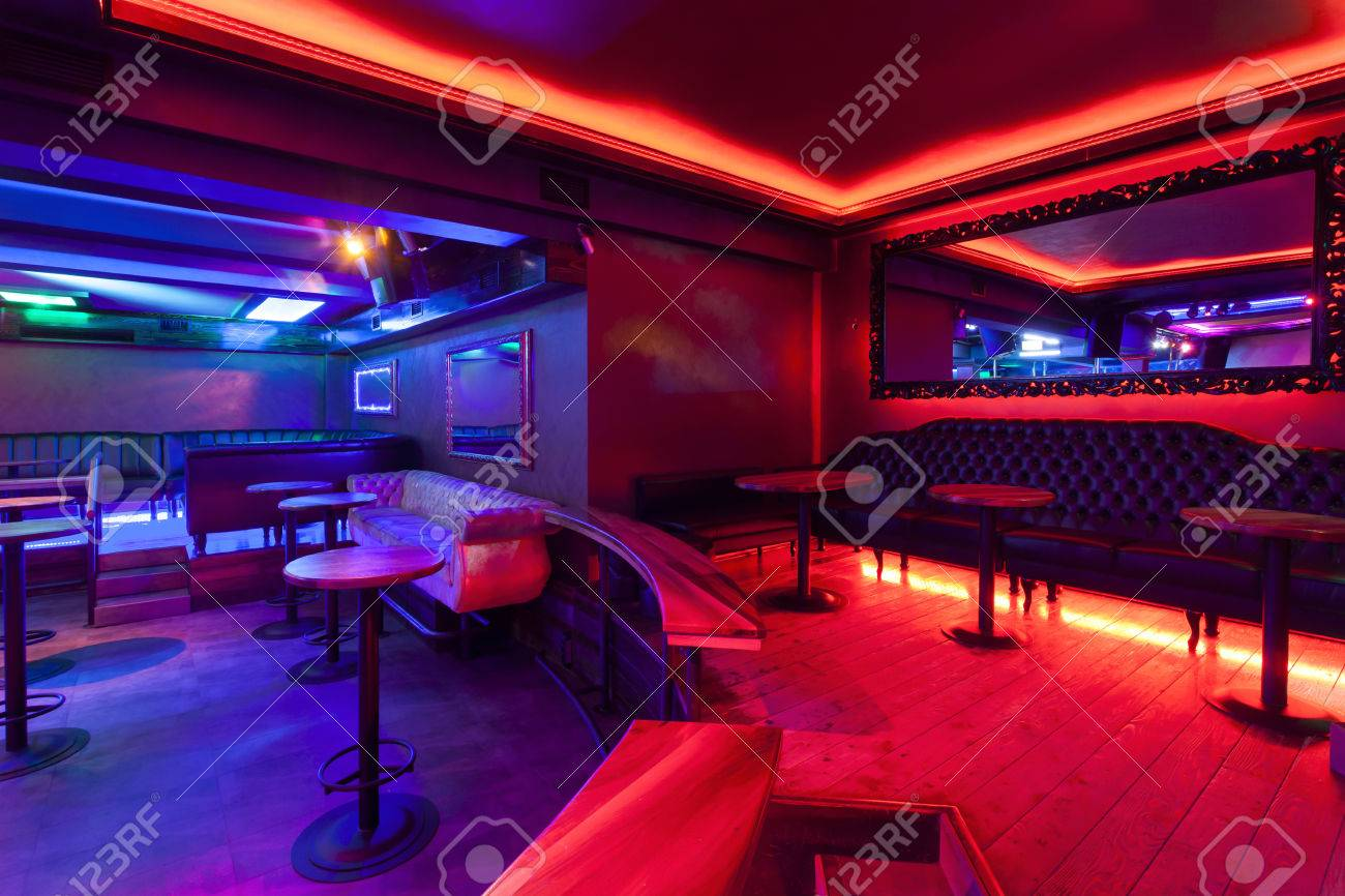 Interior Of A Nightclub With Neon Lights Stock Photo Picture And