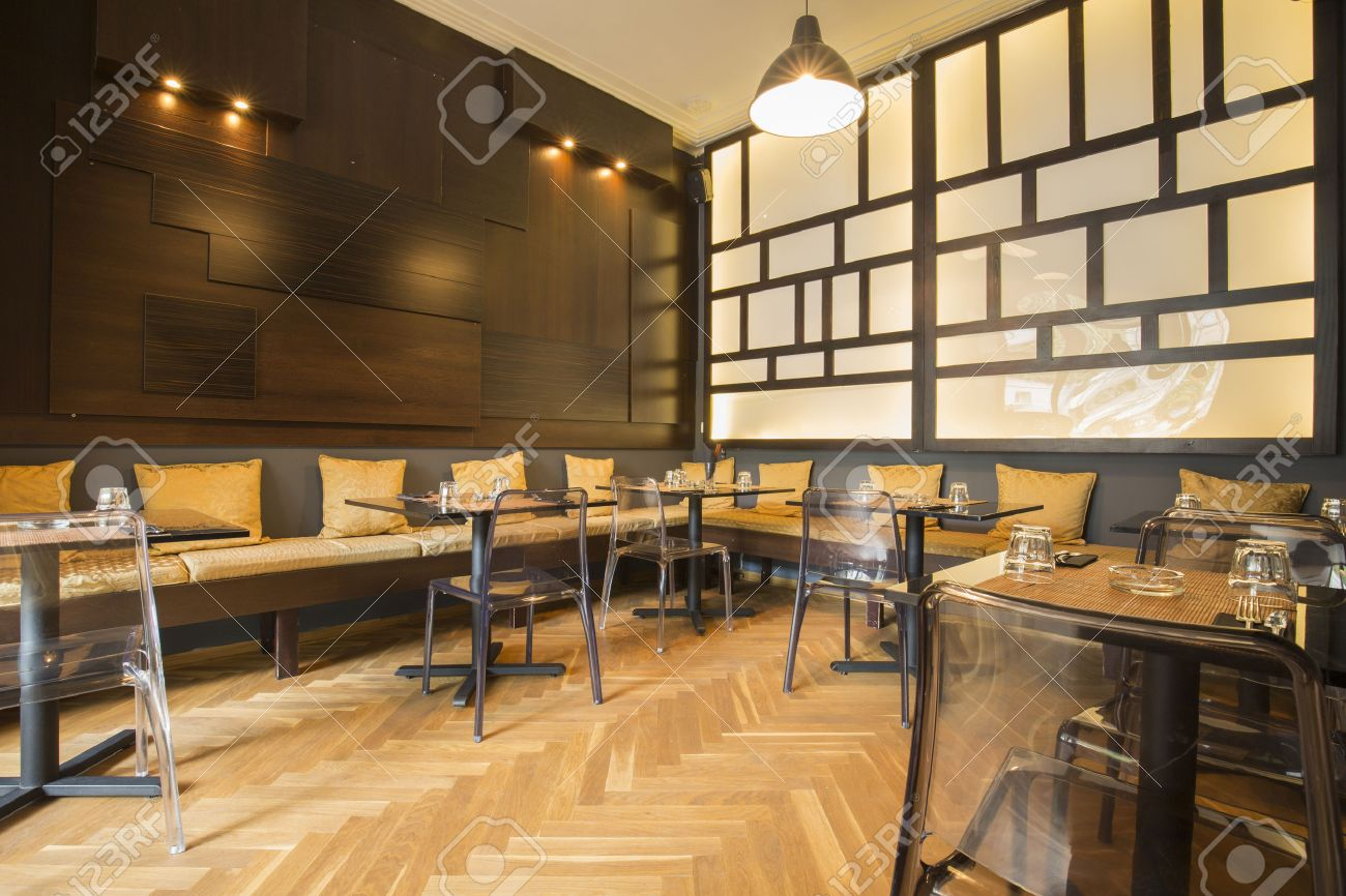 modern asian restaurant interior stock photo, picture and royalty