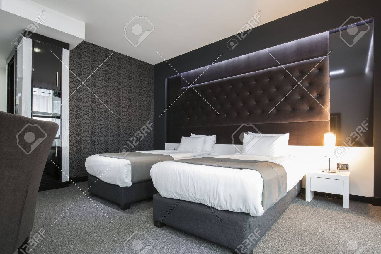 Modern Elegant Twin Room Interior Stock Photo Picture And Royalty Free Image Image 43057517