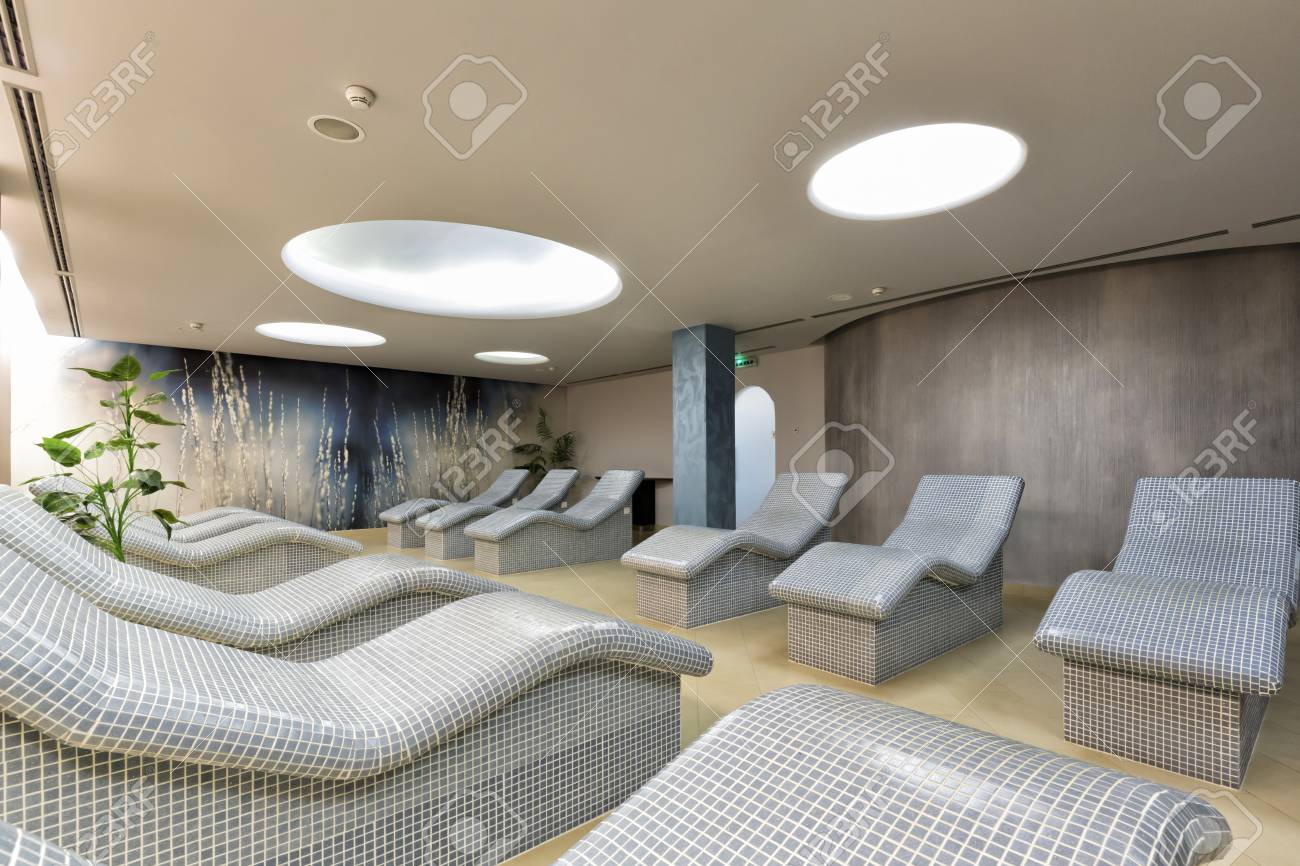 heated lounge chairs at spa center stock photo picture and royalty
