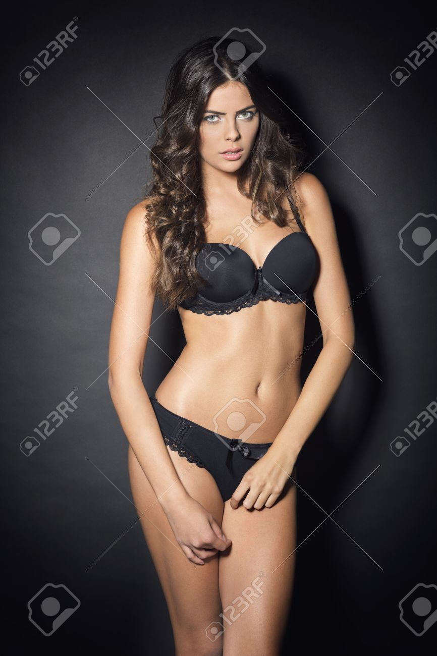 beautiful woman in black lingerie stock photo, picture and royalty
