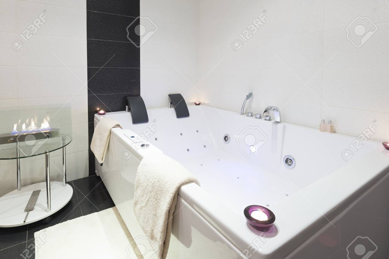 Luxury Bathroom With Jacuzzi Bath Stock Photo, Picture And Royalty ...
