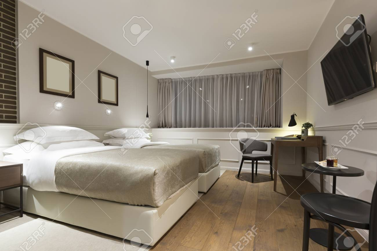 Modern Twin Bed Hotel Room Interior Stock Photo Picture And Royalty Free Image Image 58088240