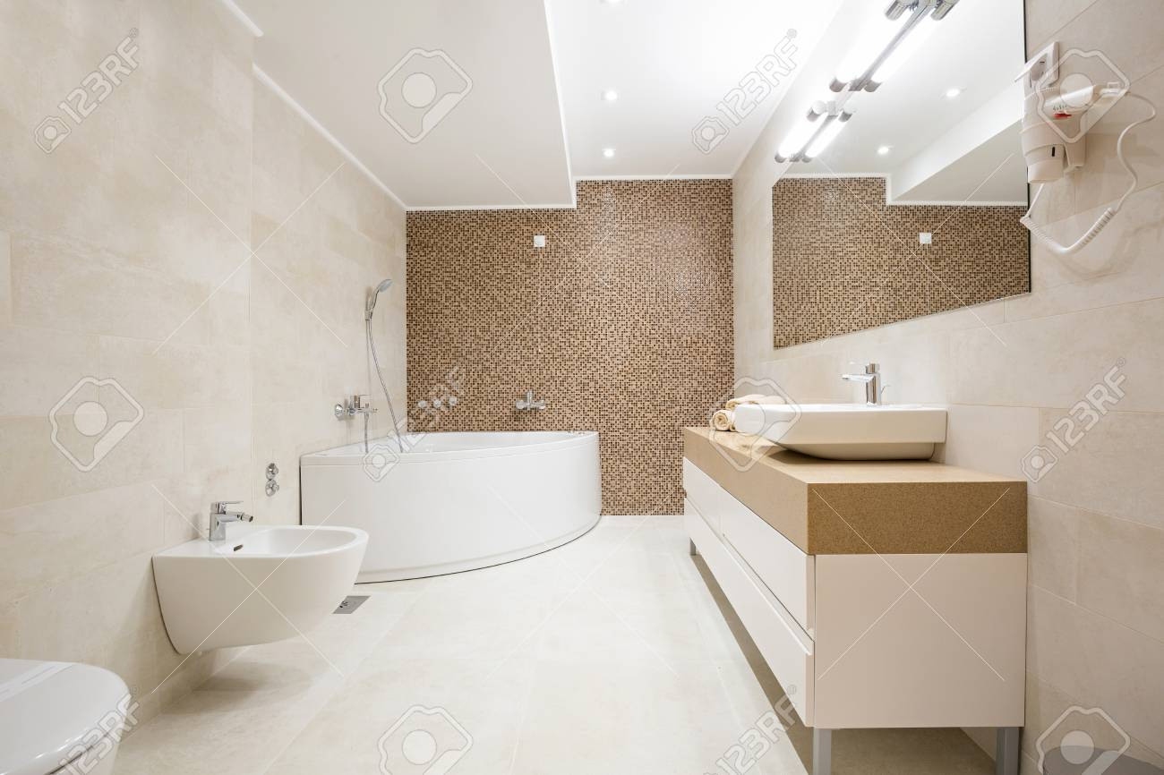 Hotel Bathroom With Hydro Massage Bath Tub Stock Photo, Picture And ...