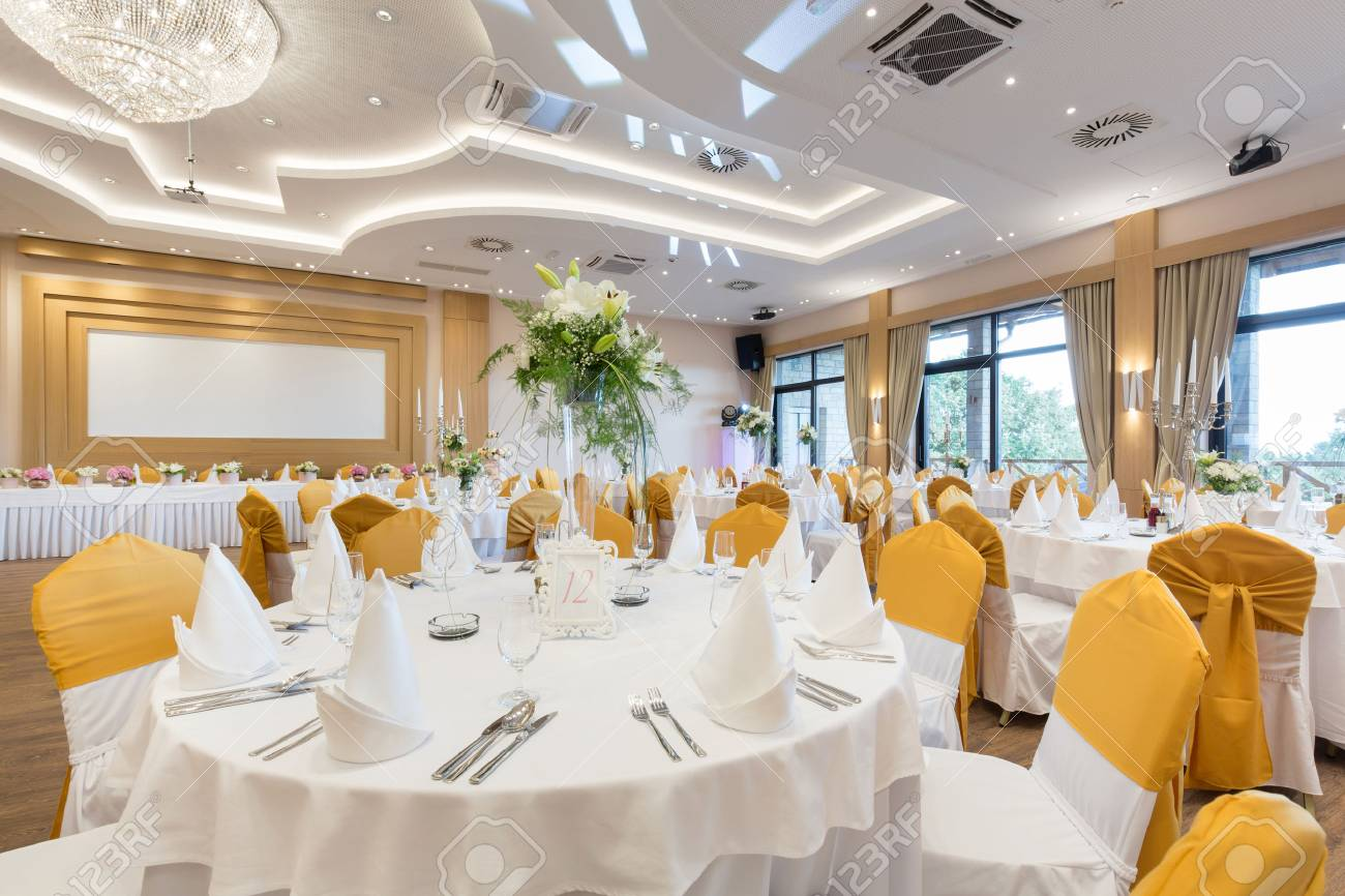 Wedding hall or other function facility set for fine dining - 66478315