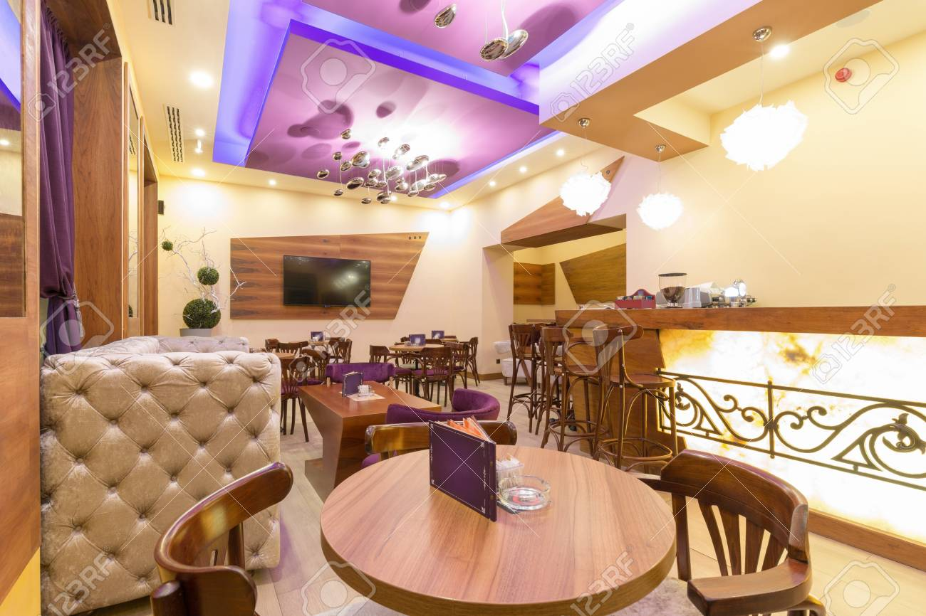 Interior of a modern cafe bar