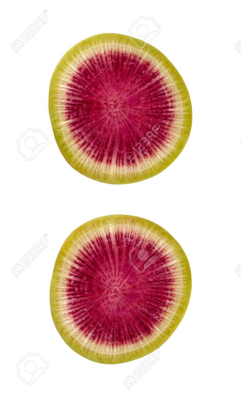 Watermelon Radish Slice Isolated with clipping path on a white background Stock Photo - 17514824
