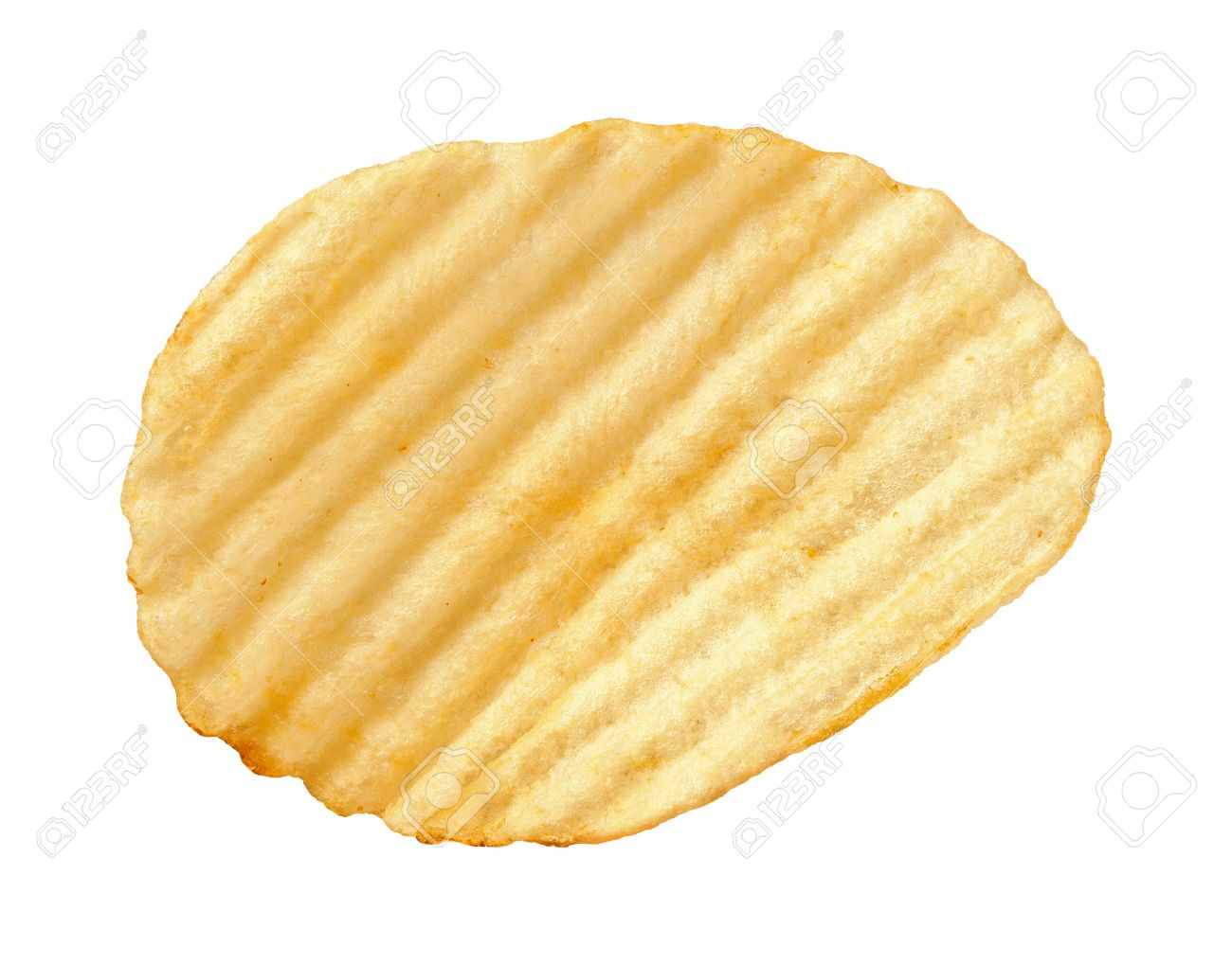a single wavy potato chip with ridges sometimes called ruffles
