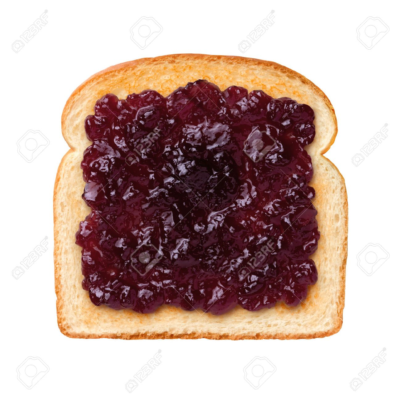 Aerial View Of A Single Slice Of Toast With Grape Jelly Or Jam Stock Photo Picture And Royalty Free Image Image 33993974
