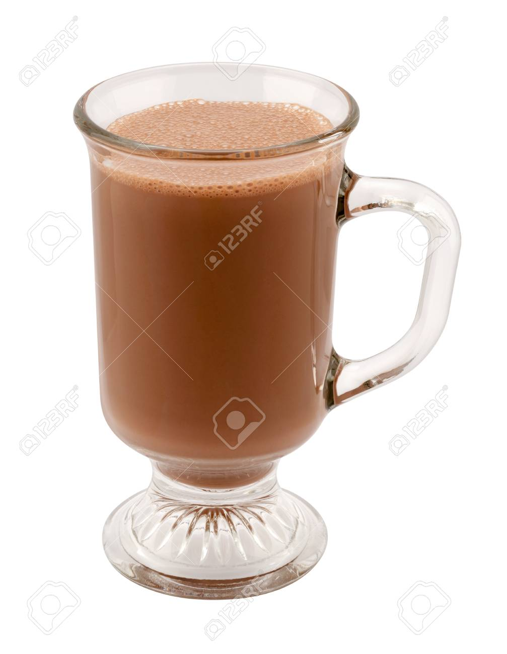 Hot Chocolate In A Glass Mug The Image Is A Cut Out Isolated Stock Photo Picture And Royalty Free Image Image 49687574