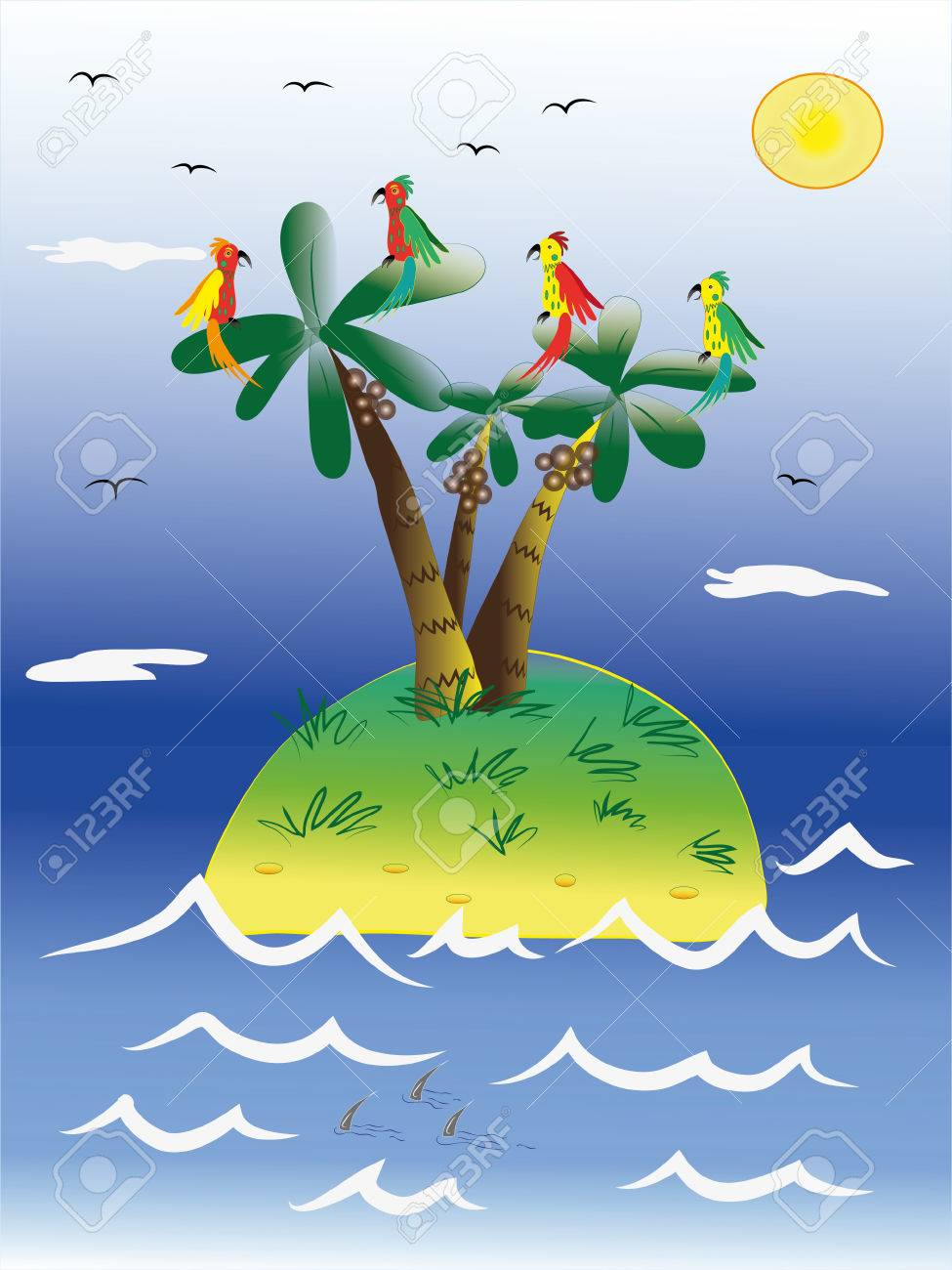 The parrots live on an island.  Illustration.Vector. Stock Vector - 8614687