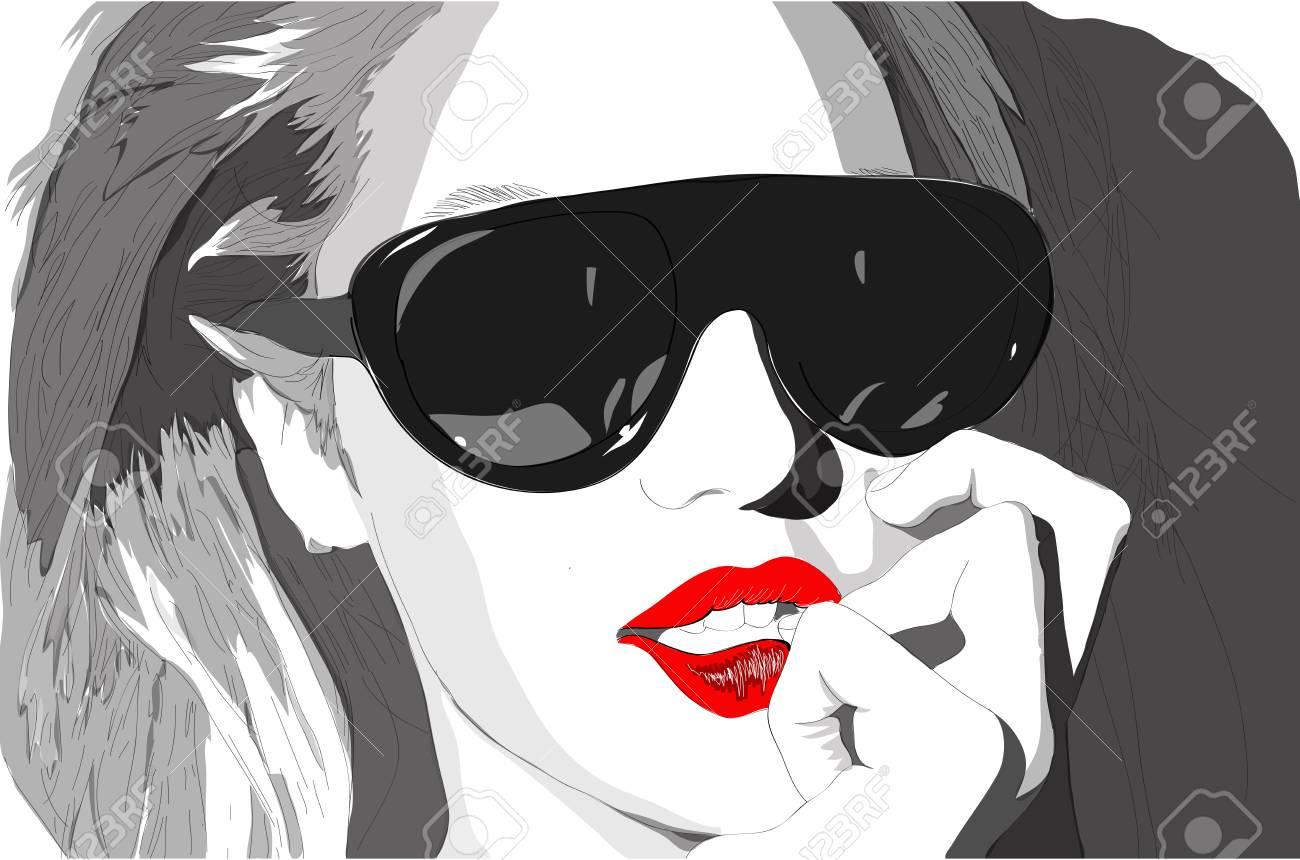 Woman in black glasses posing at camera Stock Vector - 23113671
