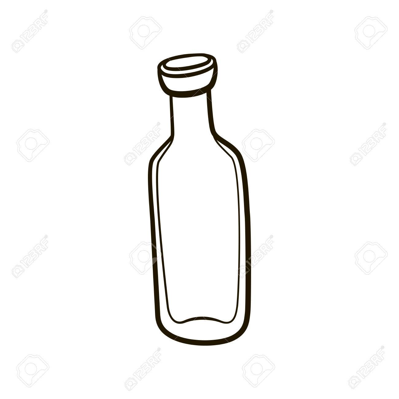 empty old fashioned milk bottle icon hand drawing contour