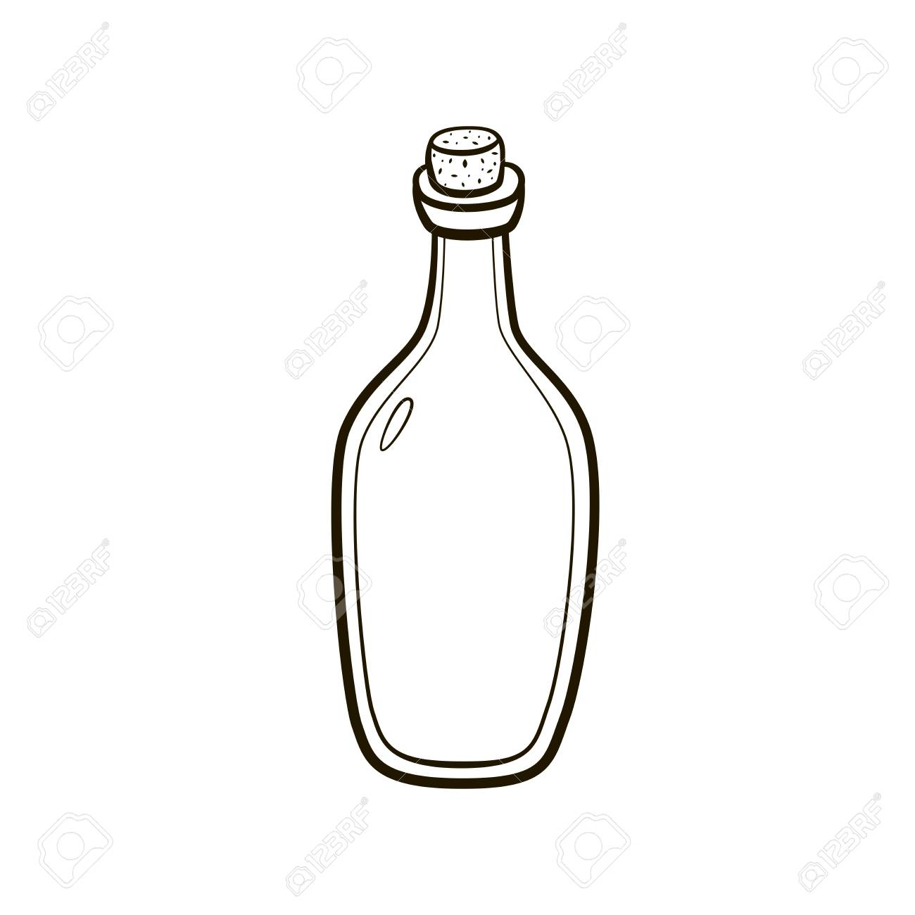 Old Fashioned Vintage Bottle Hand Drawing On White Background Stock Vector