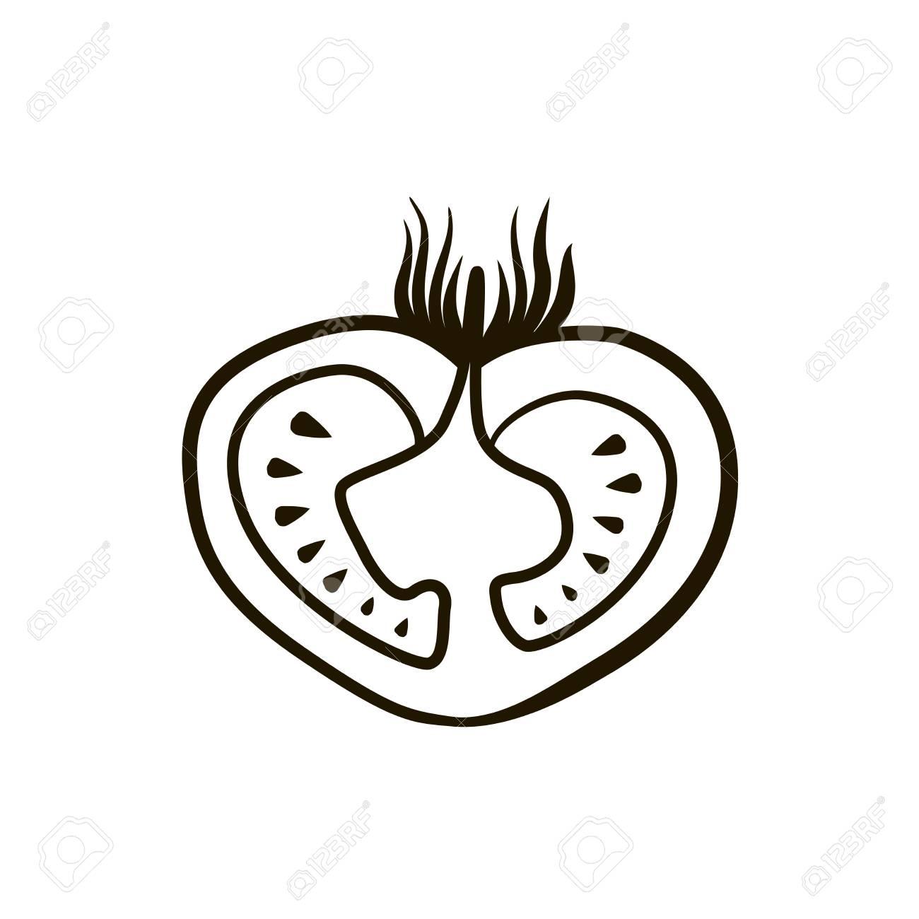 トマト漫画面白いかわいいイラスト白背景のイラスト素材ベクタ Image