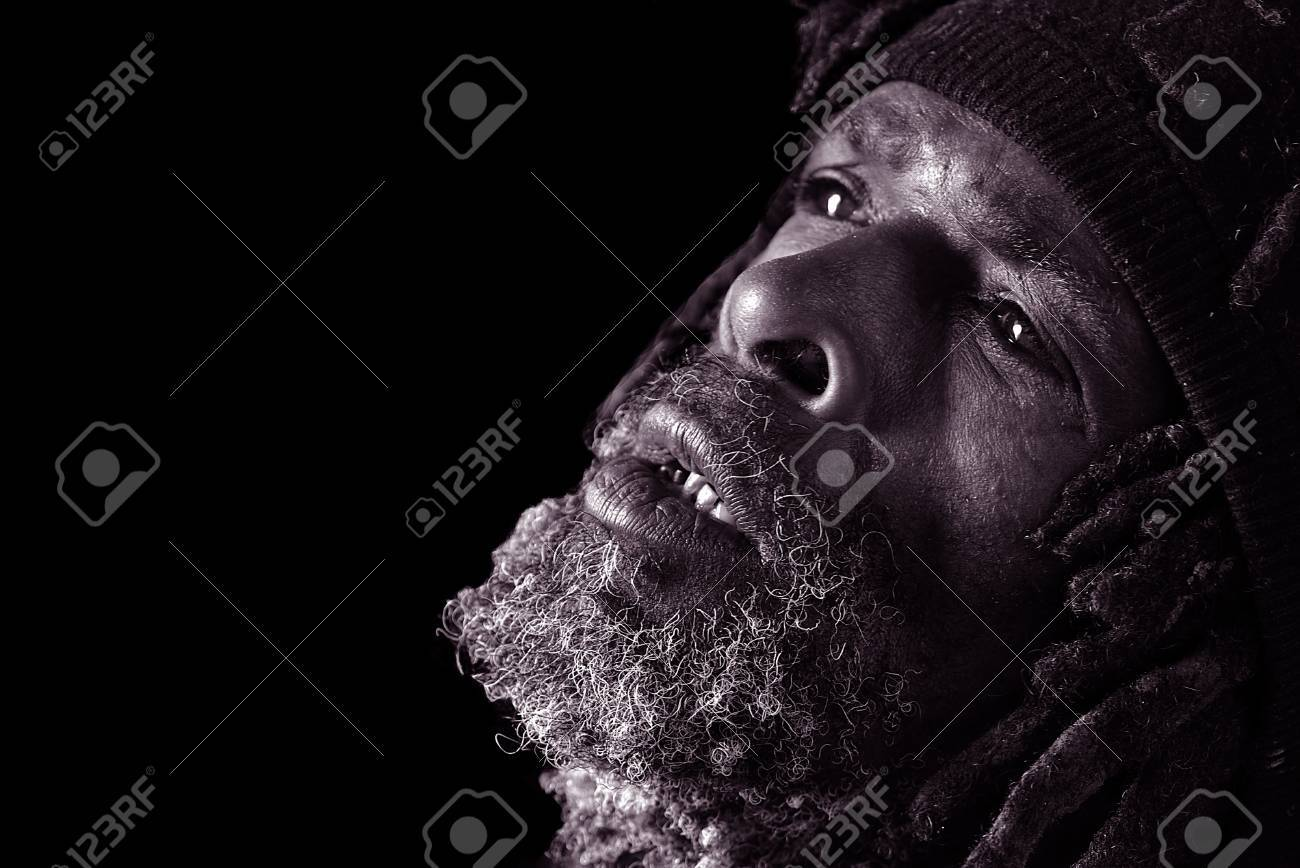 Powerful black and white image of homeless black man stock photo 10948587