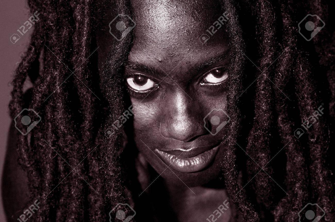 Stunning Closeup Portrait of Rastafarian Woman, Black and White Stock Photo - 10948502