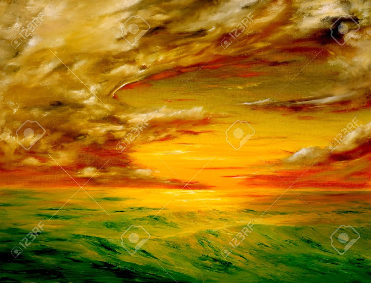 original oil painting of the Beautiful sunset off the coast of california Stock Photo - 10948503