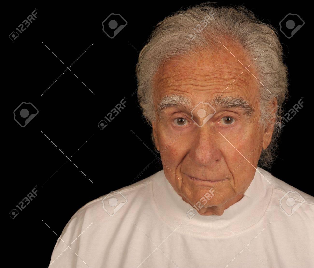 Very Nice Image Of a Elderly man on Black Stock Photo - 10950872