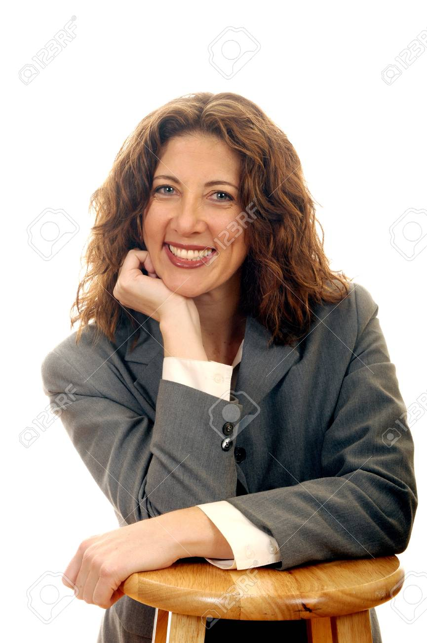 Nice Image Of a smiling Business woman On White Stock Photo - 10952520