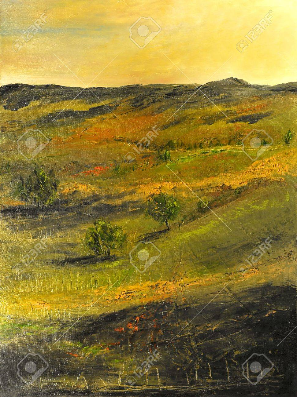 Image of a Beautiful landscape Oil Painting on Canvas Stock Photo - 10977107