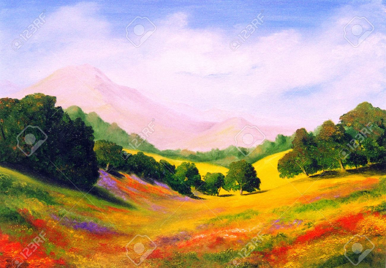 Beautiful Original Oil Painting Landscape On Canvas Stock Photo Picture And Royalty Free Image Image 10977082