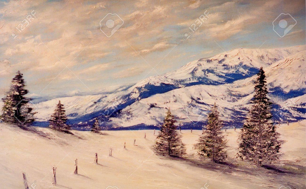 photo  belle image d une peinture a l huile sur toile paysage origine