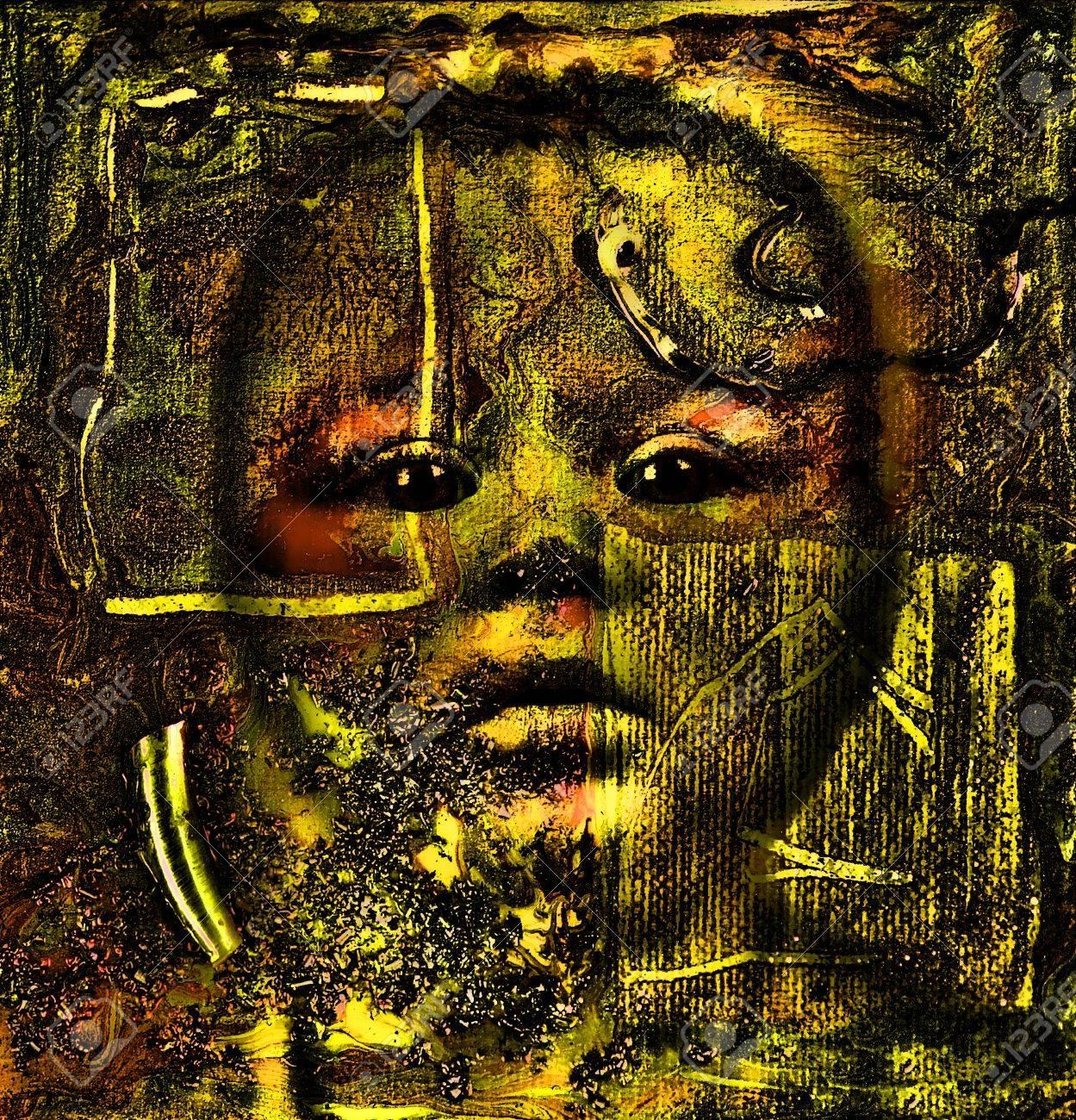 Schones Bild Eines Original Oil Painting Collage Auf Leinwand