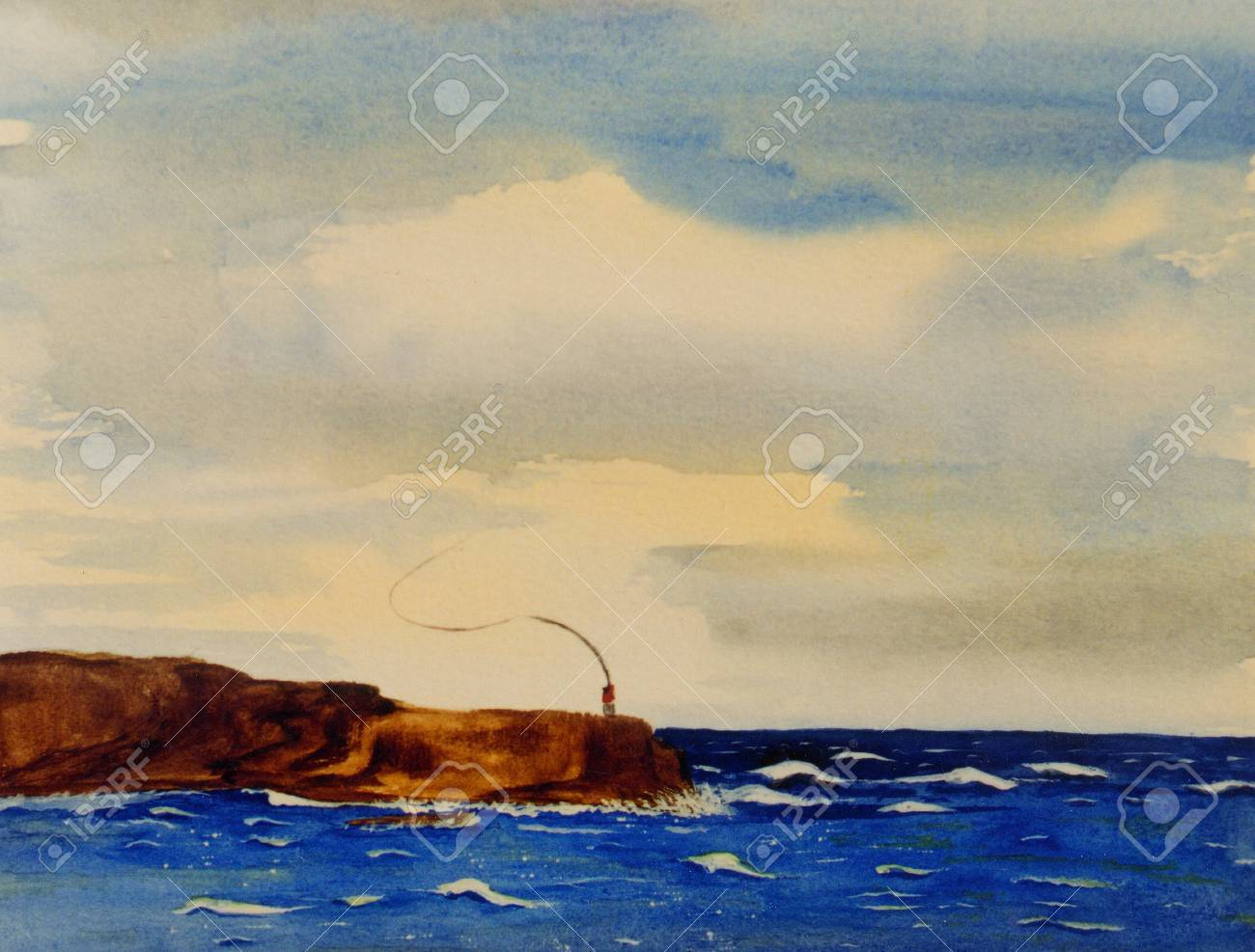 Nice Simple Watercolor Painting Of A Fisherman