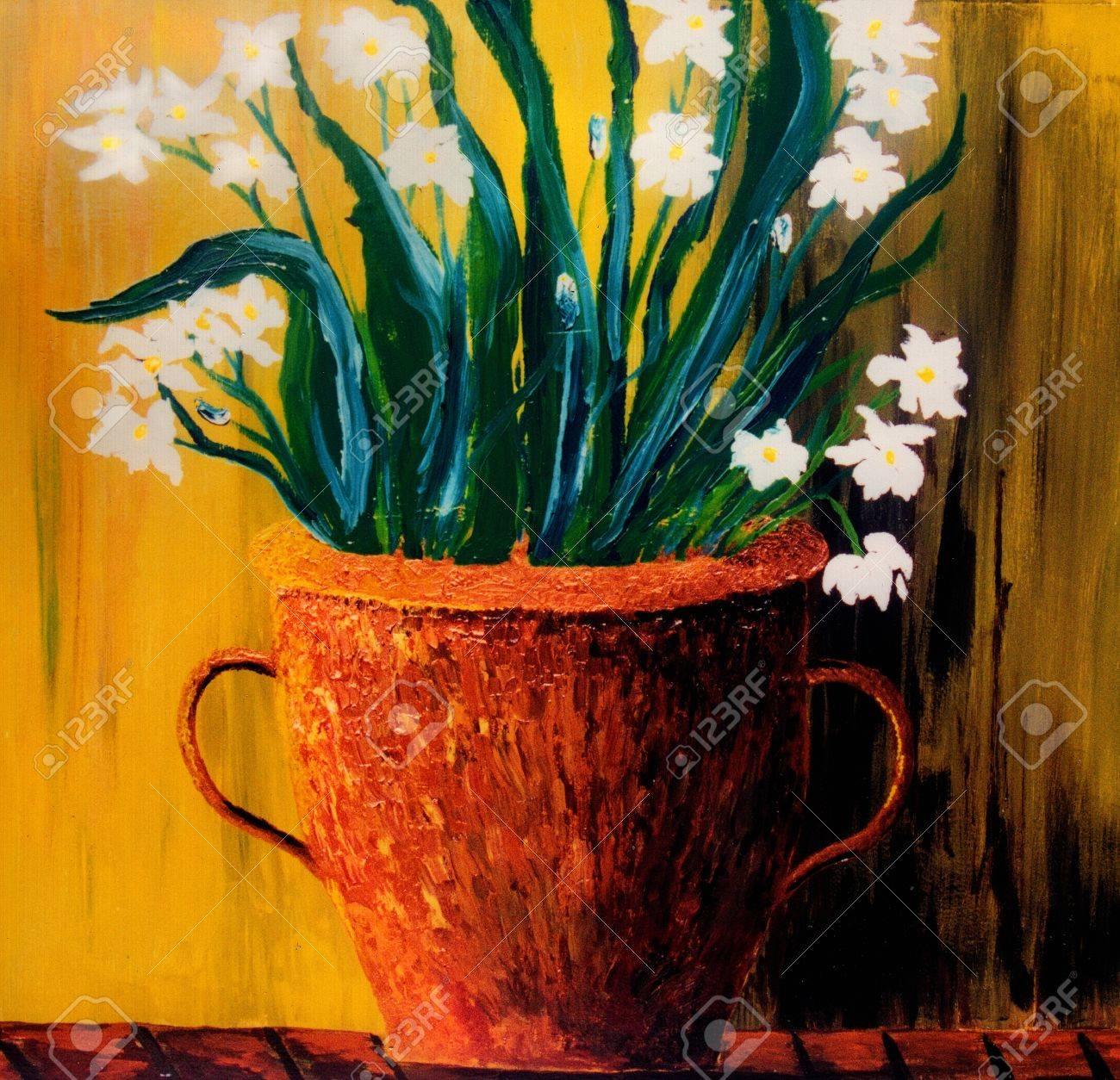 Beautiful Original Painting Of White Flowers In A Copper Vase Stock