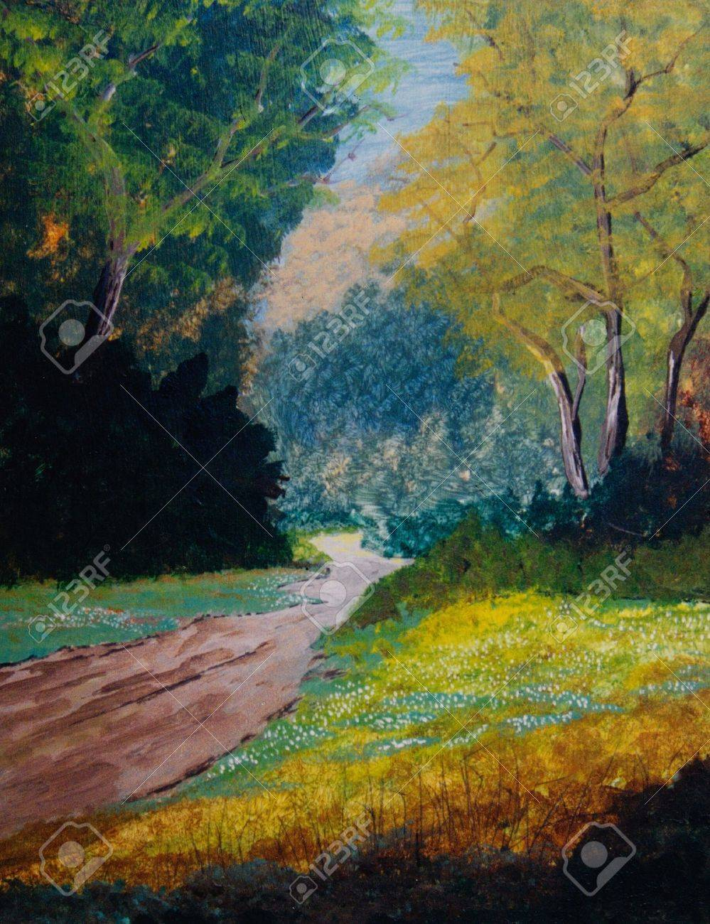 Nice original Oil Painting On canvas of a forest Stock Photo - 11280735