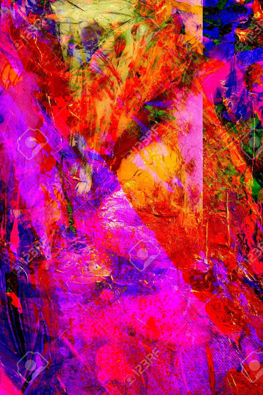 Nice Large scale Original abstract Oil Painting On Glass Stock Photo - 15647359