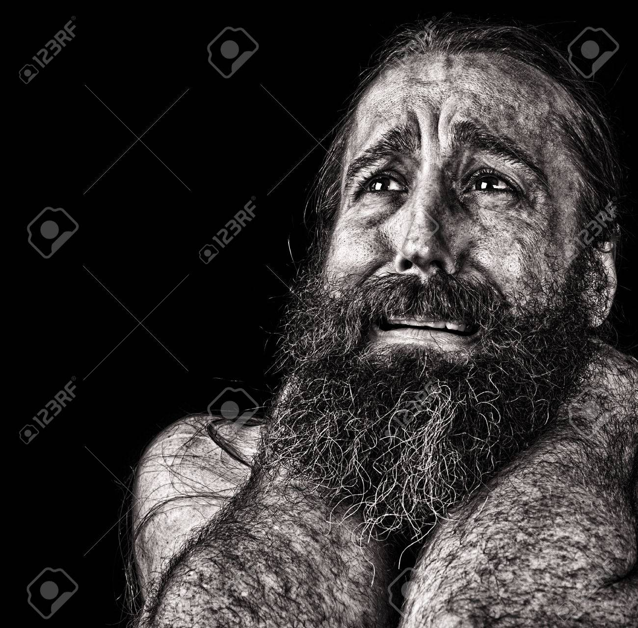 Tremendous Very Emotional Image Of A Bearded Homeless Man Crying Interior Design Ideas Inesswwsoteloinfo