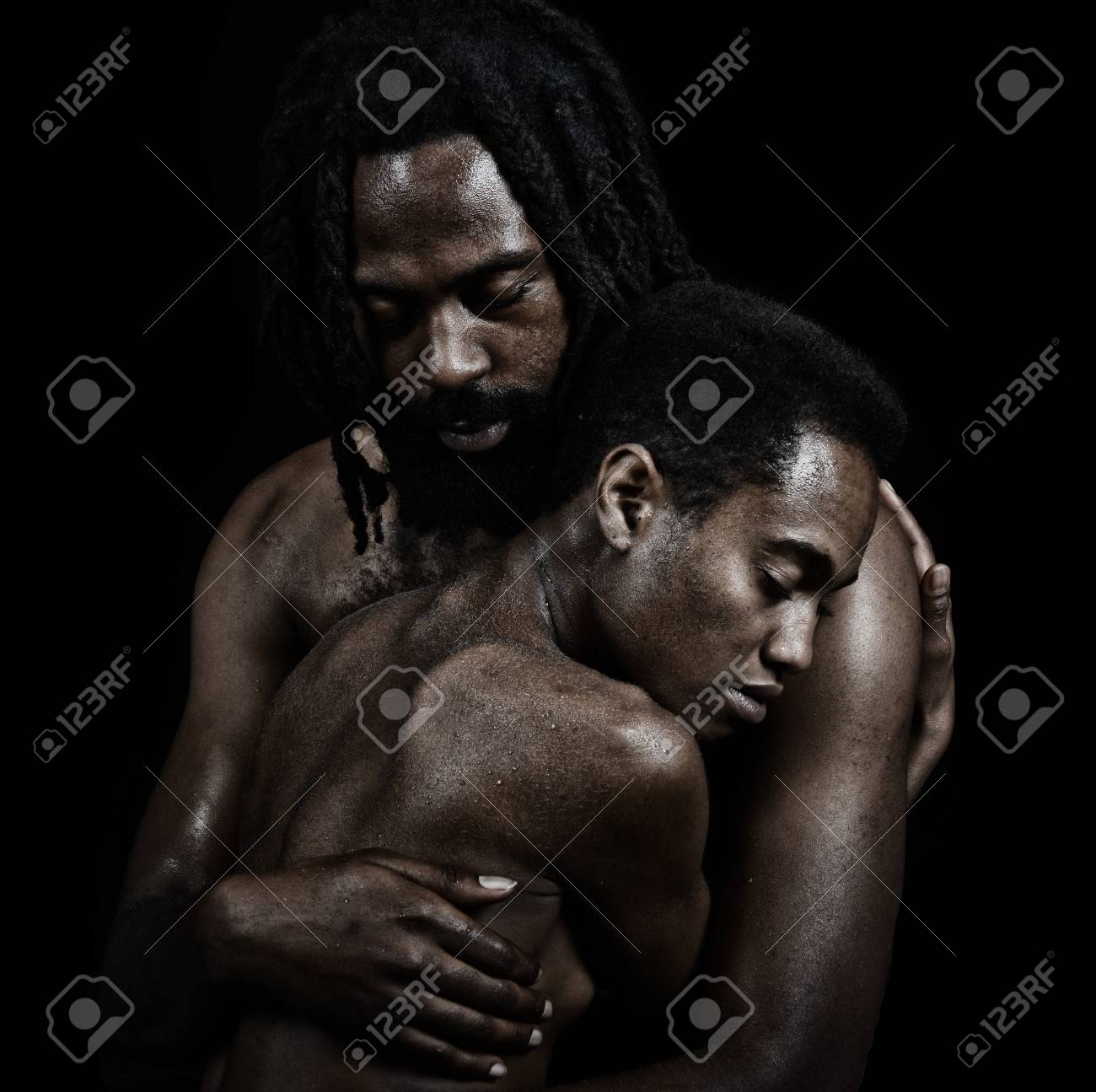Beautiful image of two lovers on black stock photo 43627311