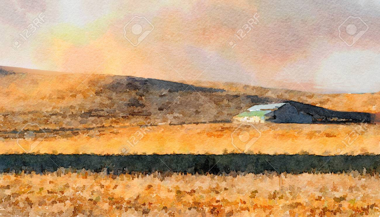 Nice Simple Watercolor Painting Of A Lone Northern California