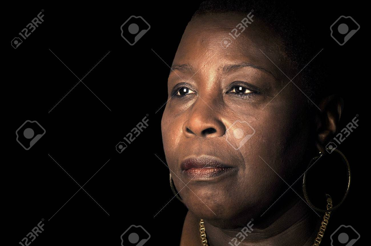 Powerful Portrait Of A Afro American Woman With Wisdom Stock Photo