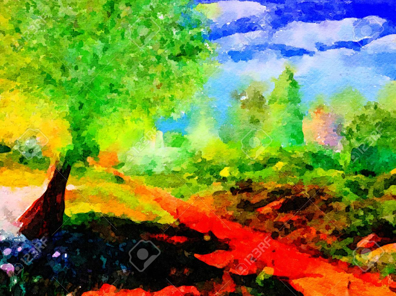Very Nice Simple Watercolor Of The Road To Church Stock