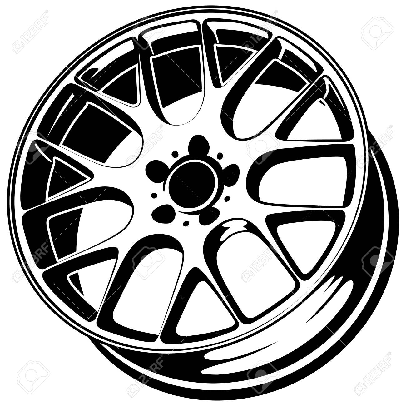 Car Wheel Rim Vector Silhouette Icon Logo Monochrome Color Royalty Free Cliparts Vectors And Stock Illustration Image 135924285