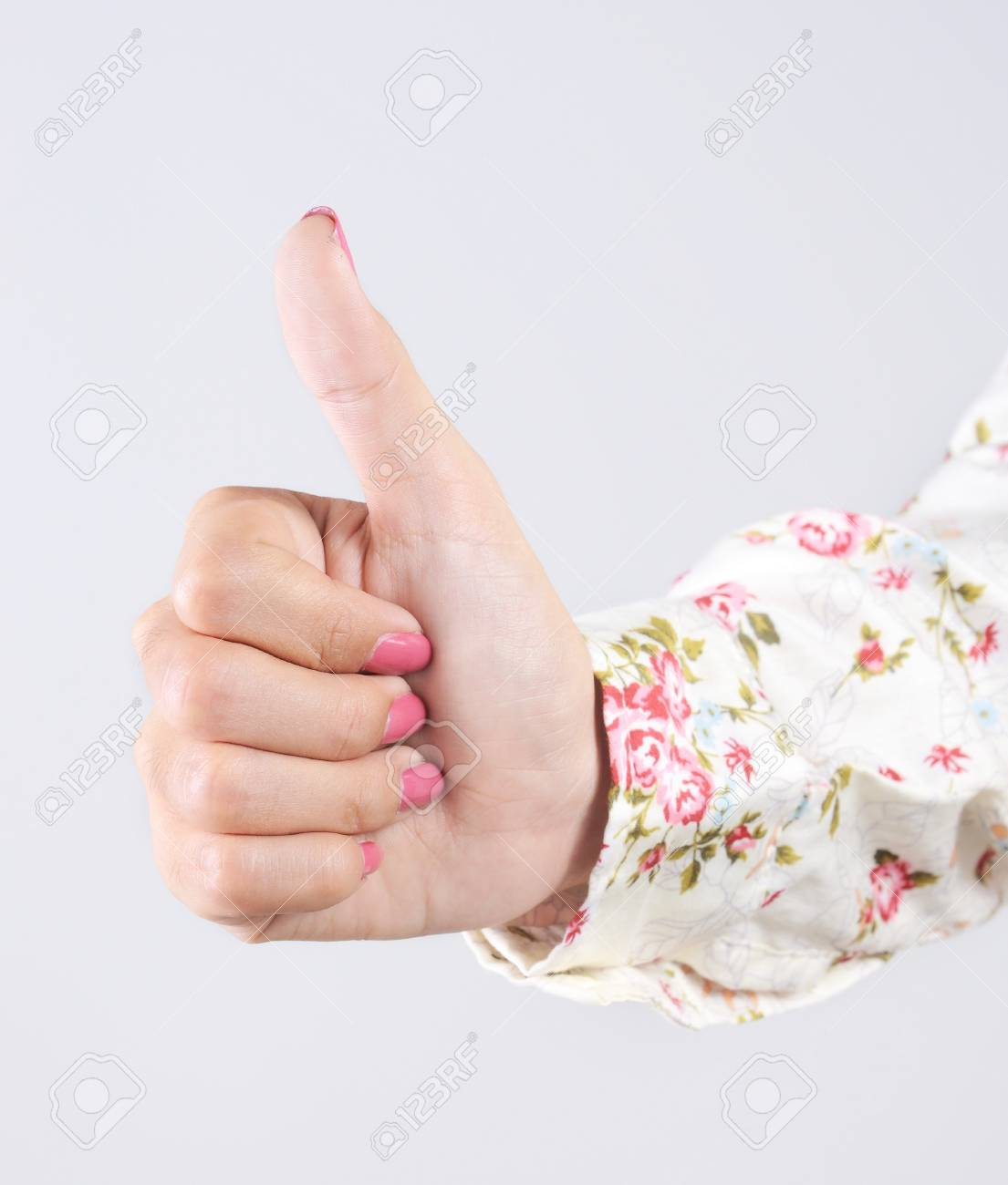 woman hands showing thumbs up Stock Photo - 15387136