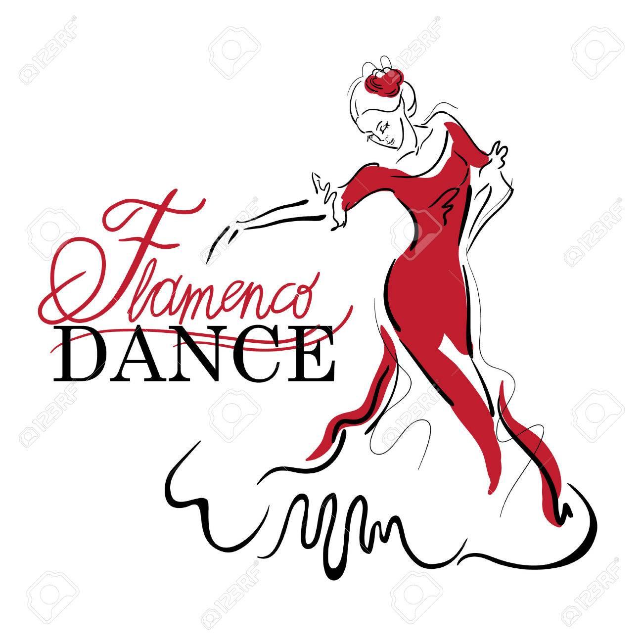 Flamenco dance elements. Dancer figure sketch. Flamenco Dance inscription. - 44059476
